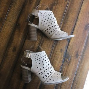 Madden Girl Tan Perforated Open Toe Booties 9.5